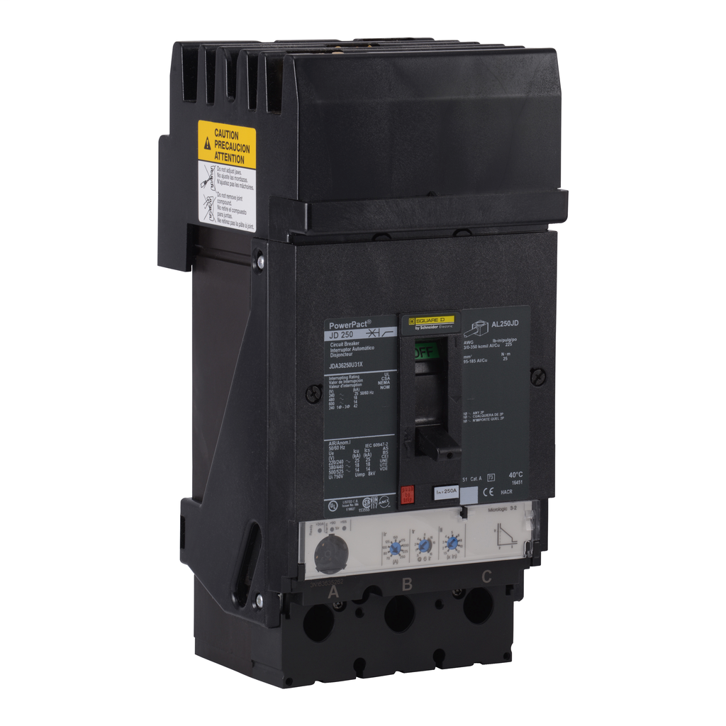 SQD JDA36250U31X MOLDED CASE CIRCUIT BREAKER 600V 250A