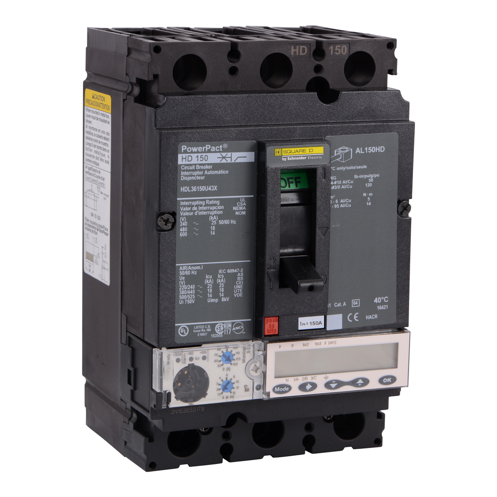 SQUARE D PowerPact H-Frame Molded Case Circuit Breakers Unit Mount - HDL36150U43X