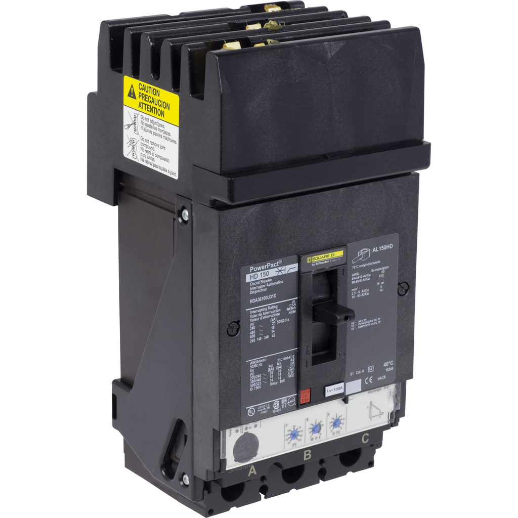 SCHNEIDER ELECTRIC PowerPact H-Frame Molded Case Circuit Breakers I-Line - HDA36100U44X