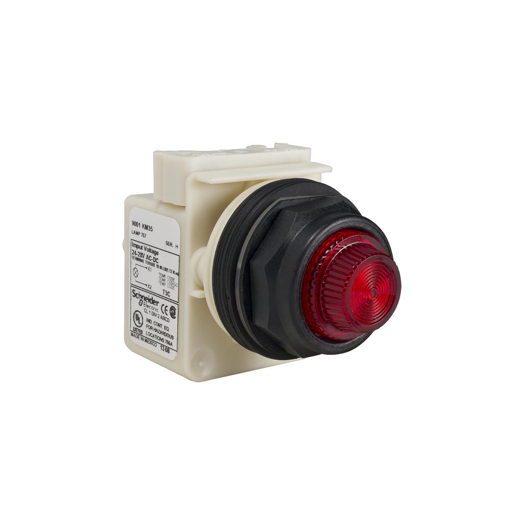 SQD 9001SKT38LRR31 PILOT LIGHT 120V 30MM SK +OPTIONS