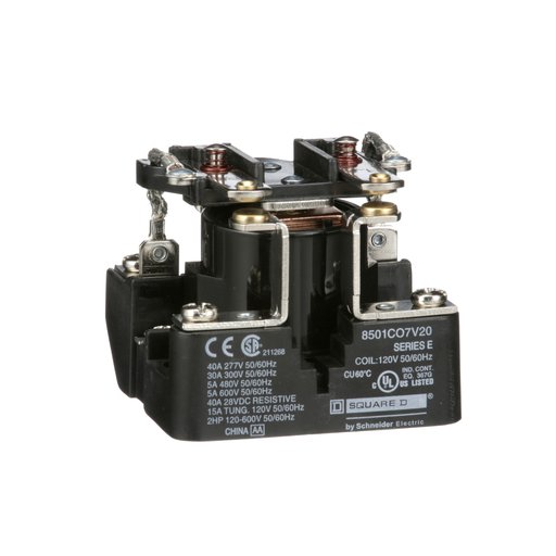 SQD 8501CO7V20 5A 120V 2-NO RELAY TYPE C OPTIONS