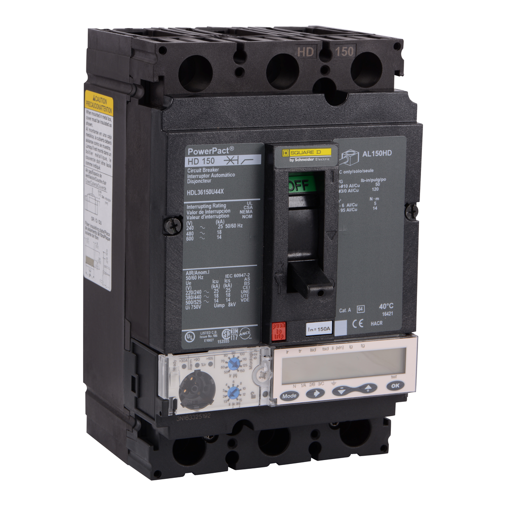 SQUARE D PowerPact H-Frame Molded Case Circuit Breakers Unit Mount - HDL36150U44X