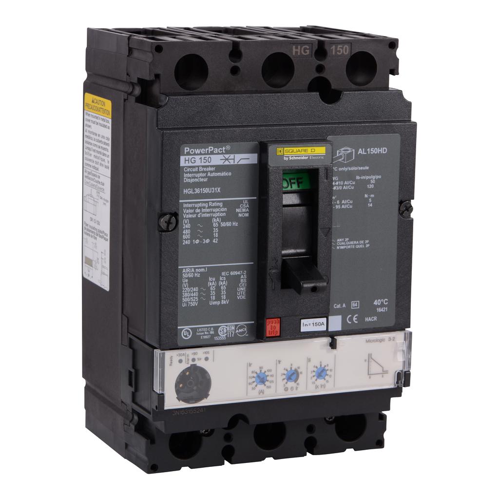SQUARE D PowerPact H-Frame Molded Case Circuit Breakers Unit Mount - HGL36150U31X
