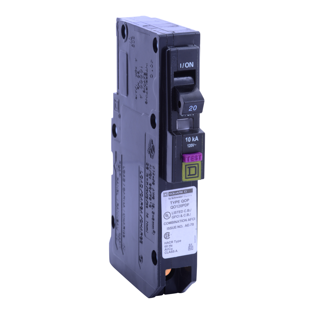 SQD QO120PDF DUAL FUNCTION ARC FAULT/GROUND FAULT BREAKER 120V 20A PLUG ON NEUTRAL