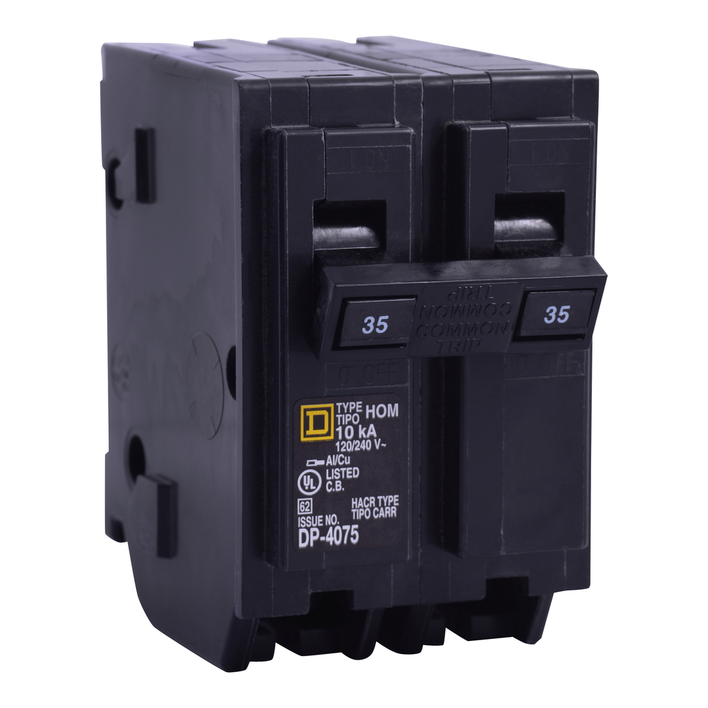 Square D™ Homeline™ Miniature Circuit Breakers, HOM250, is in a 1 inch wide format for 1-pole circuit breakers. They are designed to plug into Homeline load centers. Equipped with standart HACR and Switch Duty rated circuit breaker. UL listed.