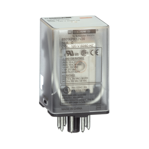SQD 8501KPR12V14 RELAY 2CO CYL PIN 10A@240V 24VAC COIL