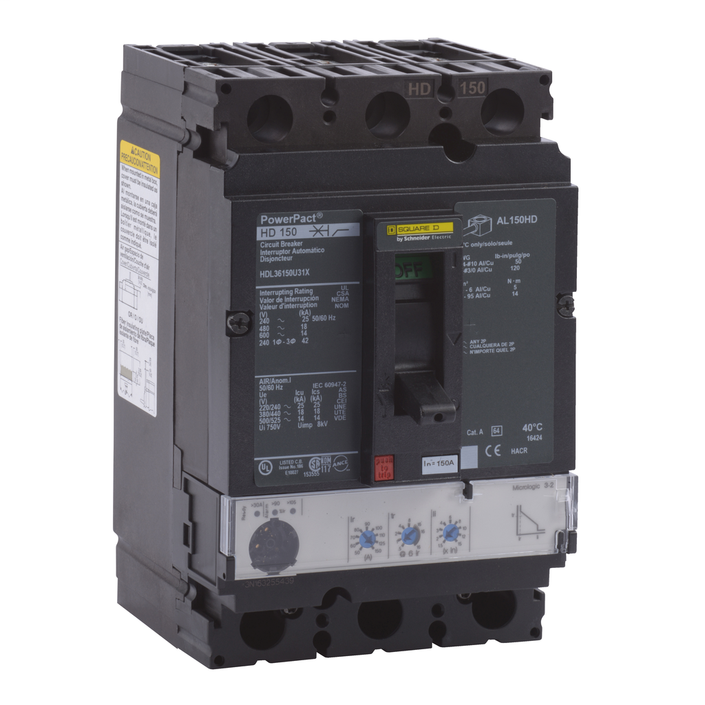 SQUARE D PowerPact H-Frame Molded Case Circuit Breakers Unit Mount - HDL36150U31X
