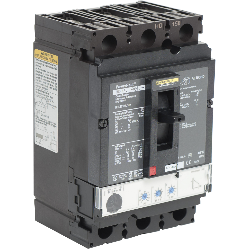 SQUARE D PowerPact H-Frame Molded Case Circuit Breakers Unit Mount - HDL36100U31X