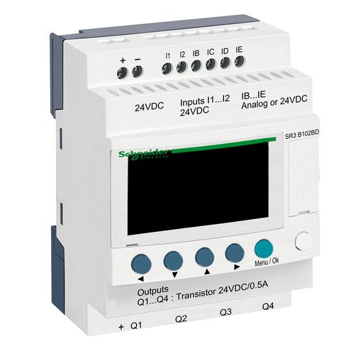 SQD SR3B102BD ZELIO SR3 10 I-O 24VDC, TRANSISTOR OUT