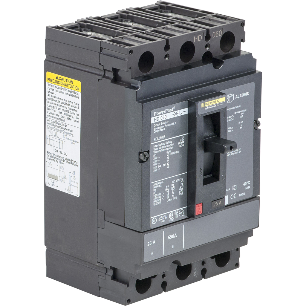 SQD HDL36025 MOLDED CASE CIRCUIT BREAKER 600V 25A