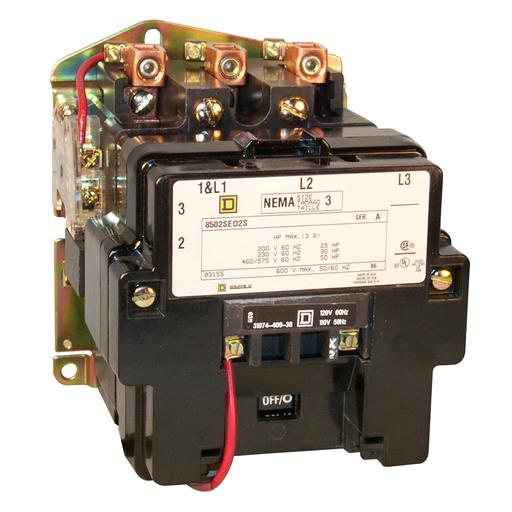 SQD 8502SEO2V02S CONTACTOR 600VAC +OPTIONS
