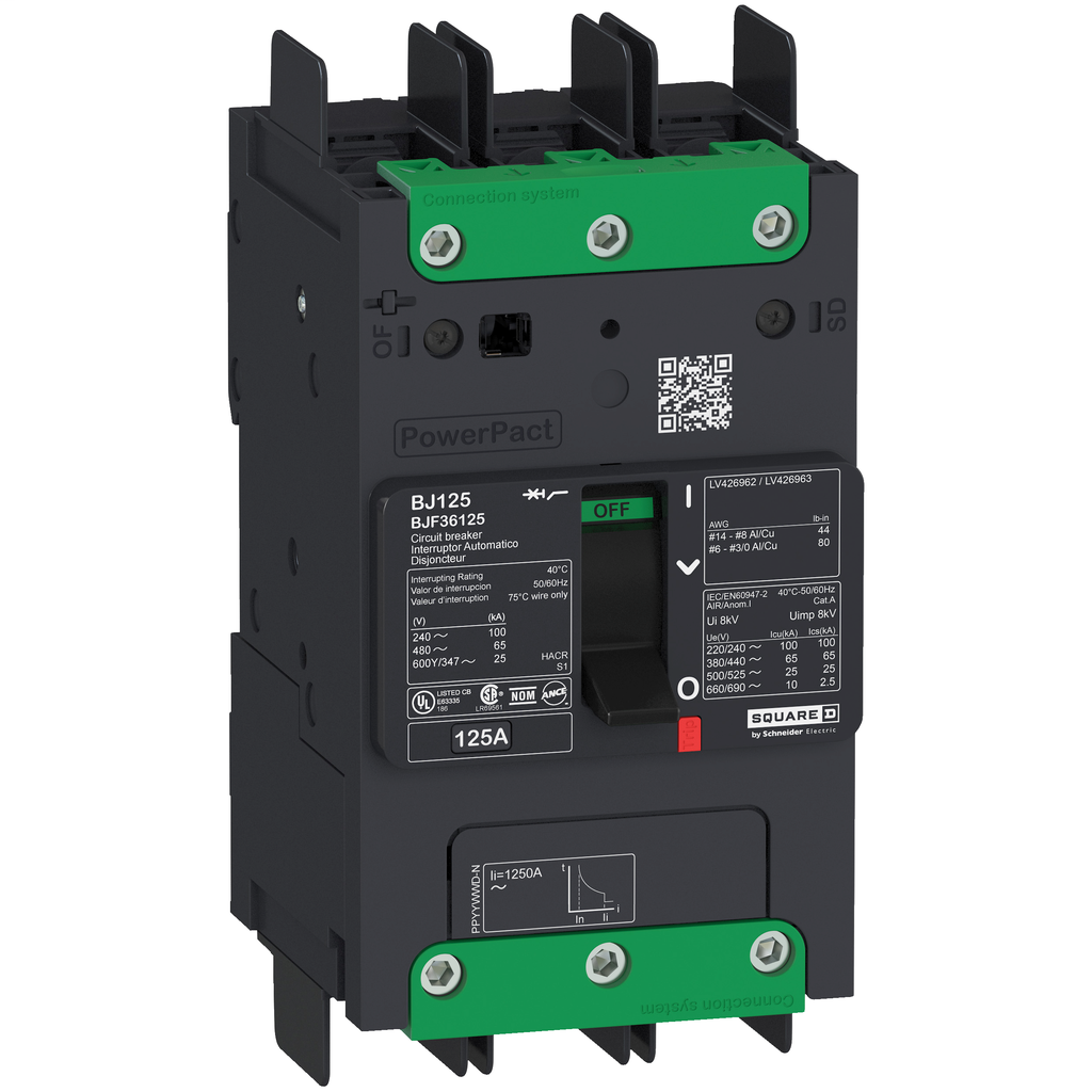 SQUARE D PowerPact B-Frame Molded Case Circuit Breakers Unit Mount - BJF36125