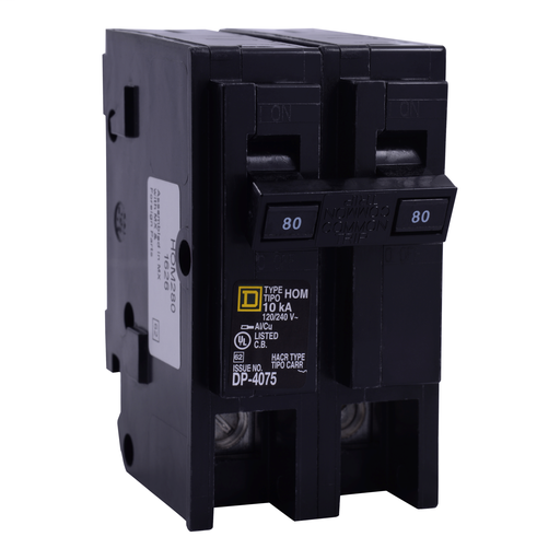 SquareD HOM280 80A 120/240v 2P Homeline Circuit Breaker, Plug-On