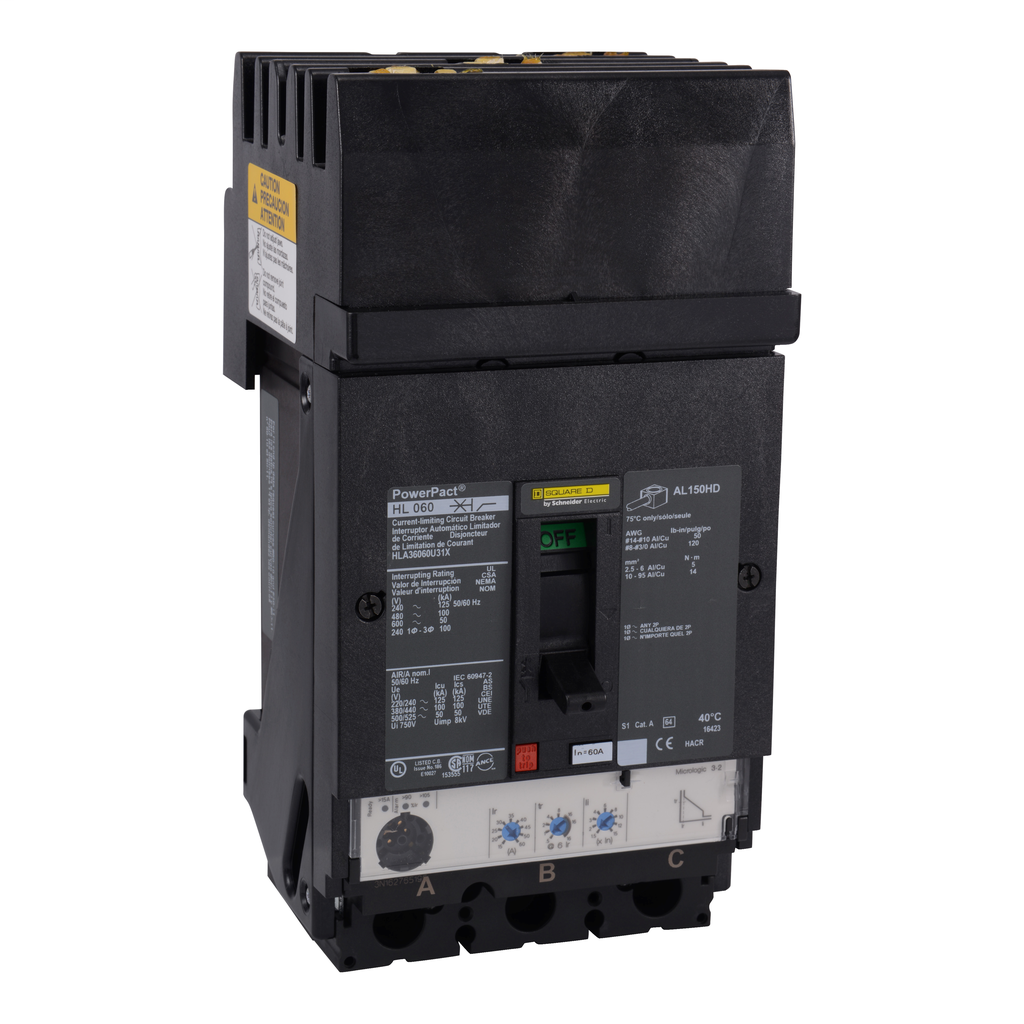 SQD HDA36060U31X MOLDED CASE CIRCUIT BREAKER 600V 60A