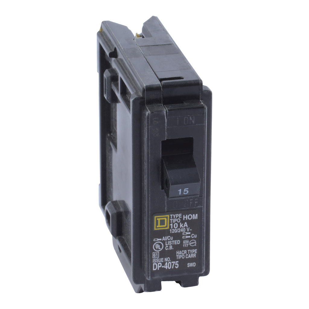 SquareD HOM115 15A 120/240v 1P Homeline Circuit Breaker, Plug-On