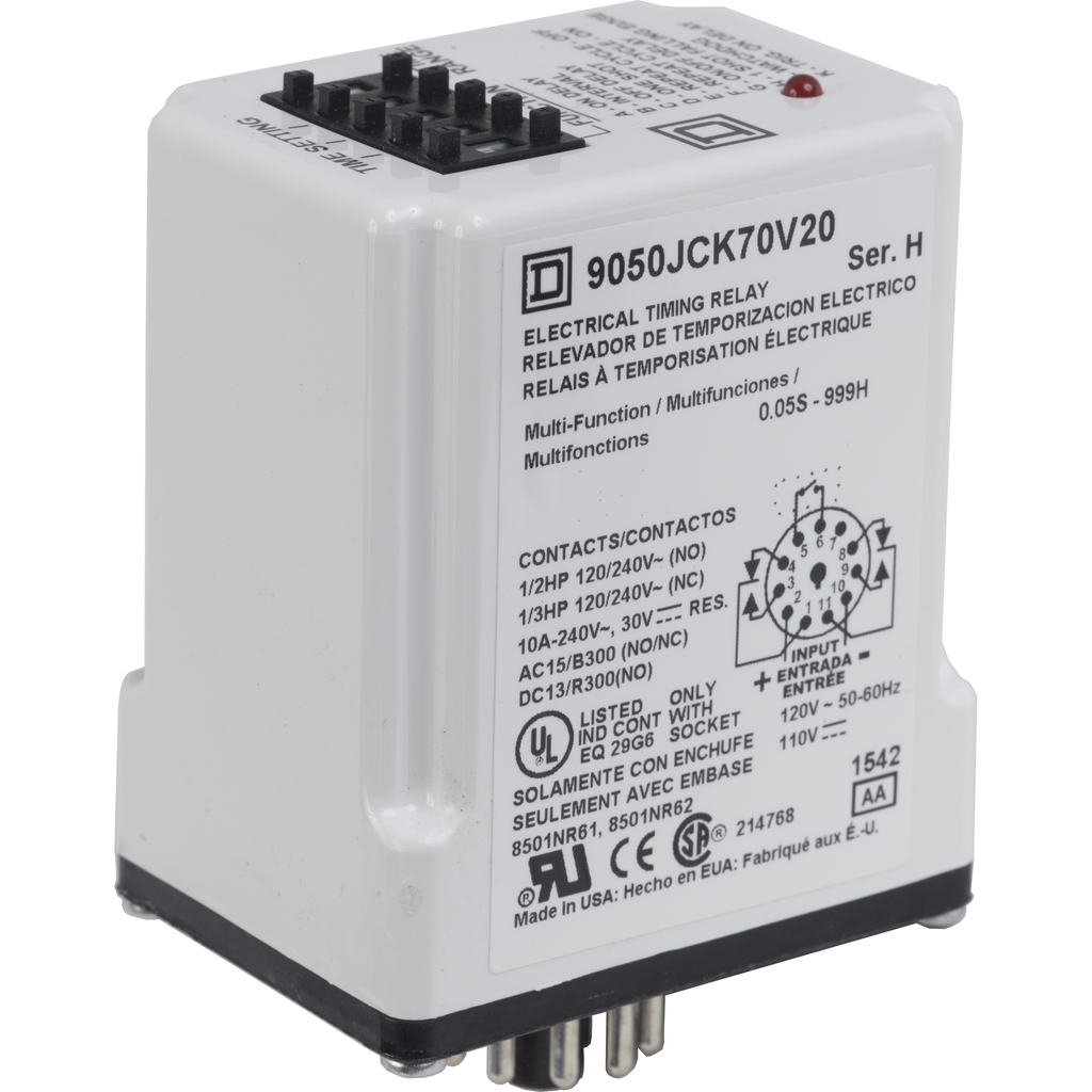 9050jck70v20 Relay No Nc Contacts Sqd 10a 120v Ac Type Jck Timer