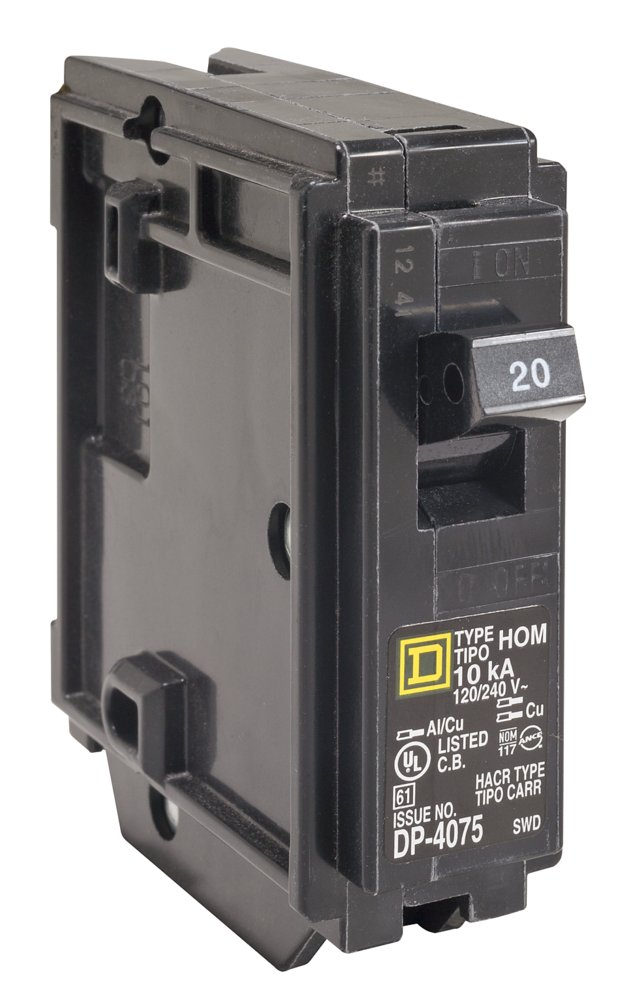 SquareD HOM120 20A 120/240v 1P Homeline Circuit Breaker, Plug-On