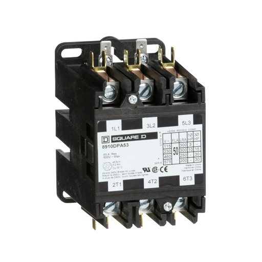 SQD 8910DPA53V02 50A 600V CONTACTOR DPA OPTIONS