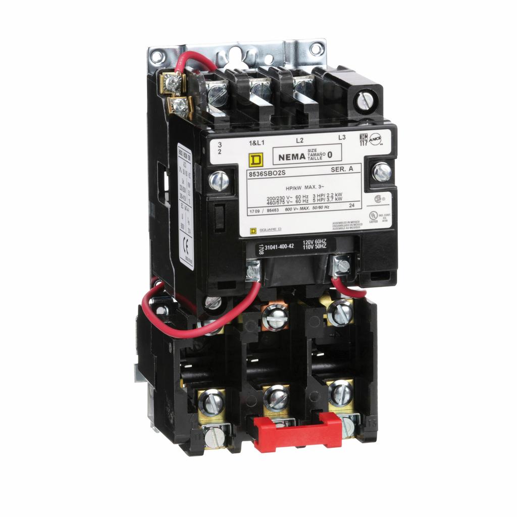 Type S nonreversing magnetic starter, NEMA Size 0, 3 P, 110/120 VAC 50/60 Hz coil, melting alloy overload, open