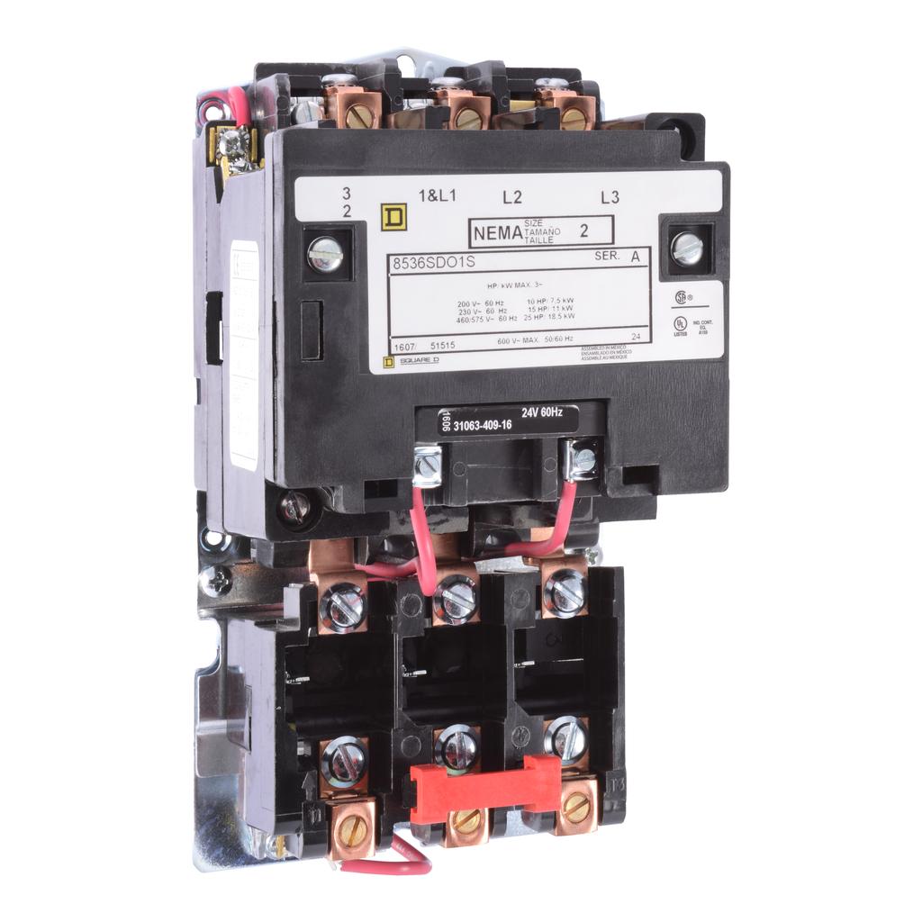 Type S nonreversing magnetic starter, NEMA Size 2, 3 P, 110/120 VAC 50/60 Hz coil, melting alloy overload, open
