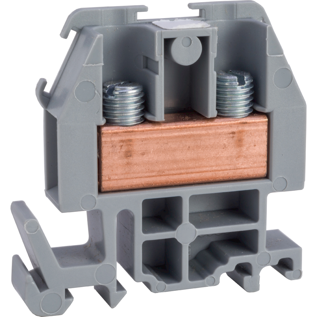 Linergy terminal block, box lug connector, grey colored block, 60 Amp, 600 VAC / VDC