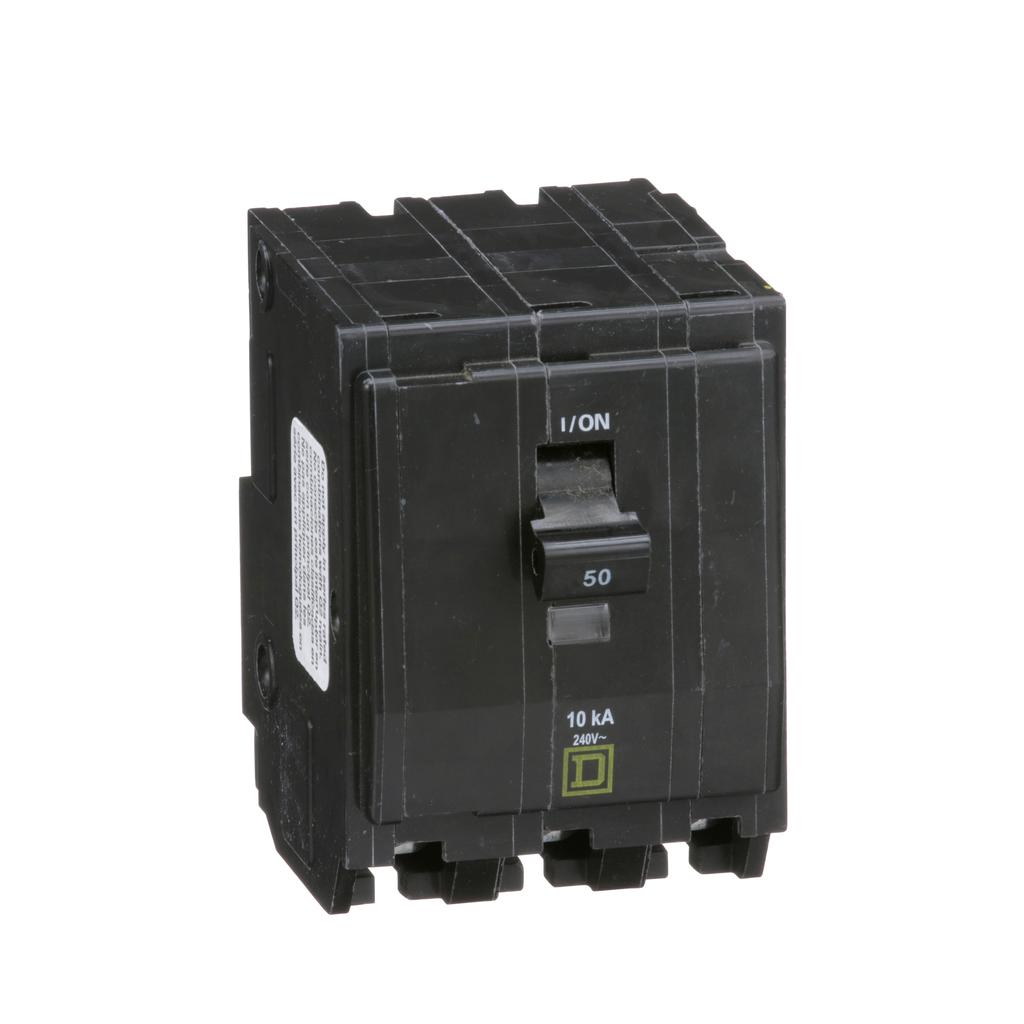 QO mini breaker, 50 A, 3 pole, 120/240 V, 10 kA, plug in