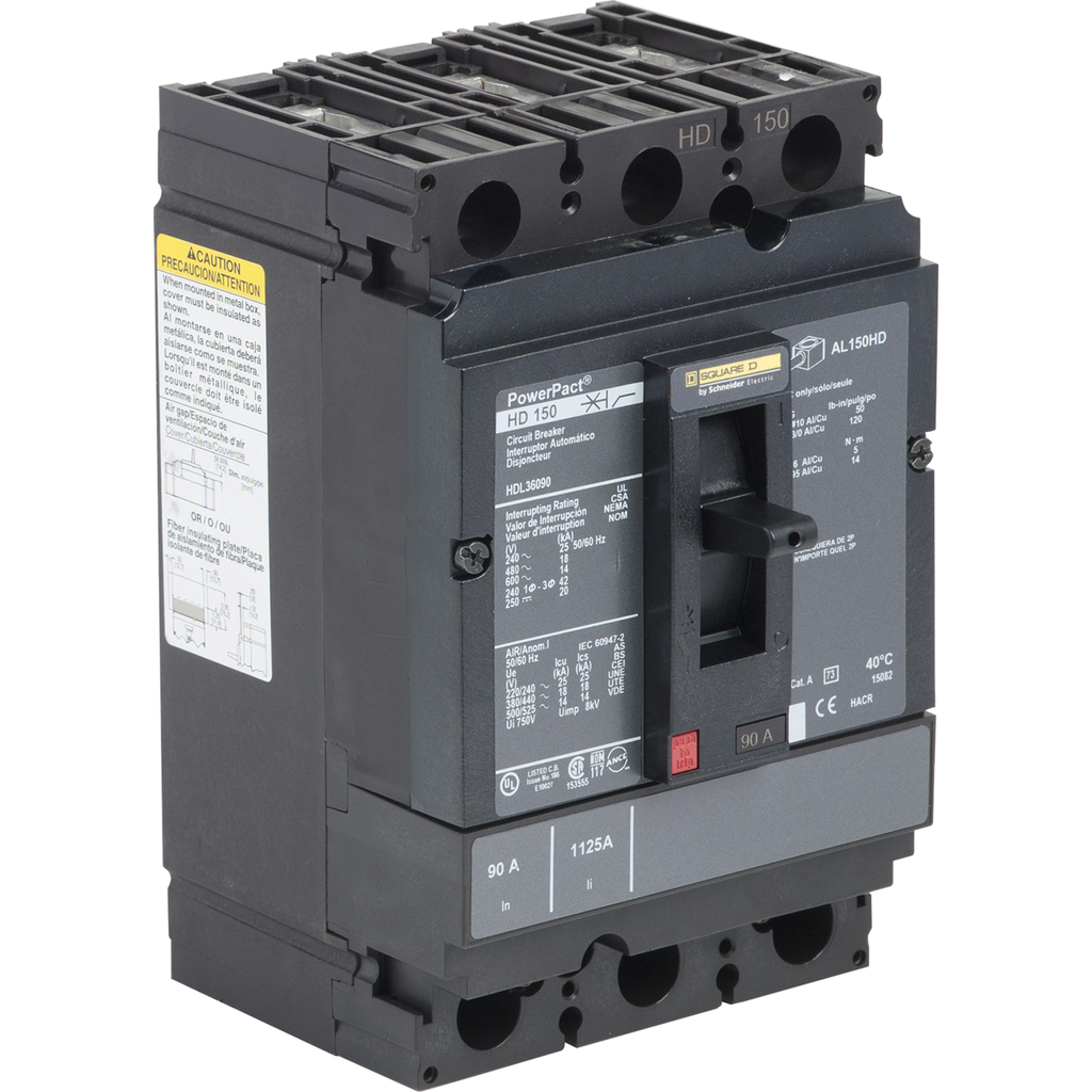 PowerPact H Circuit Breaker,ThermMagn,90A,3P,600V,14kA