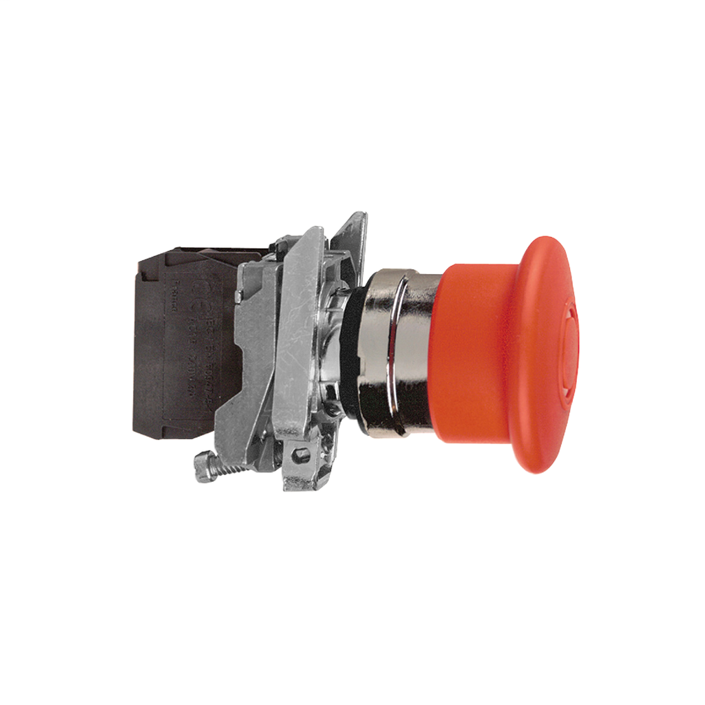 Harmony, emergency stop, latching push pull, red, 40 mm, 1 NC and 1 NO