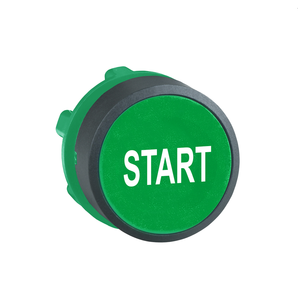 "Green flush pushbutton head Ø22 spring return ""START"""