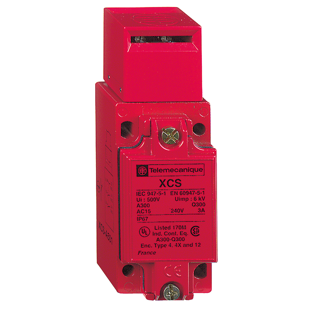 Preventa XCS, safety switches, metal safety switch, 2 NC and 1 NO, slow break, 1 entry tapped 0.5 inch NPT