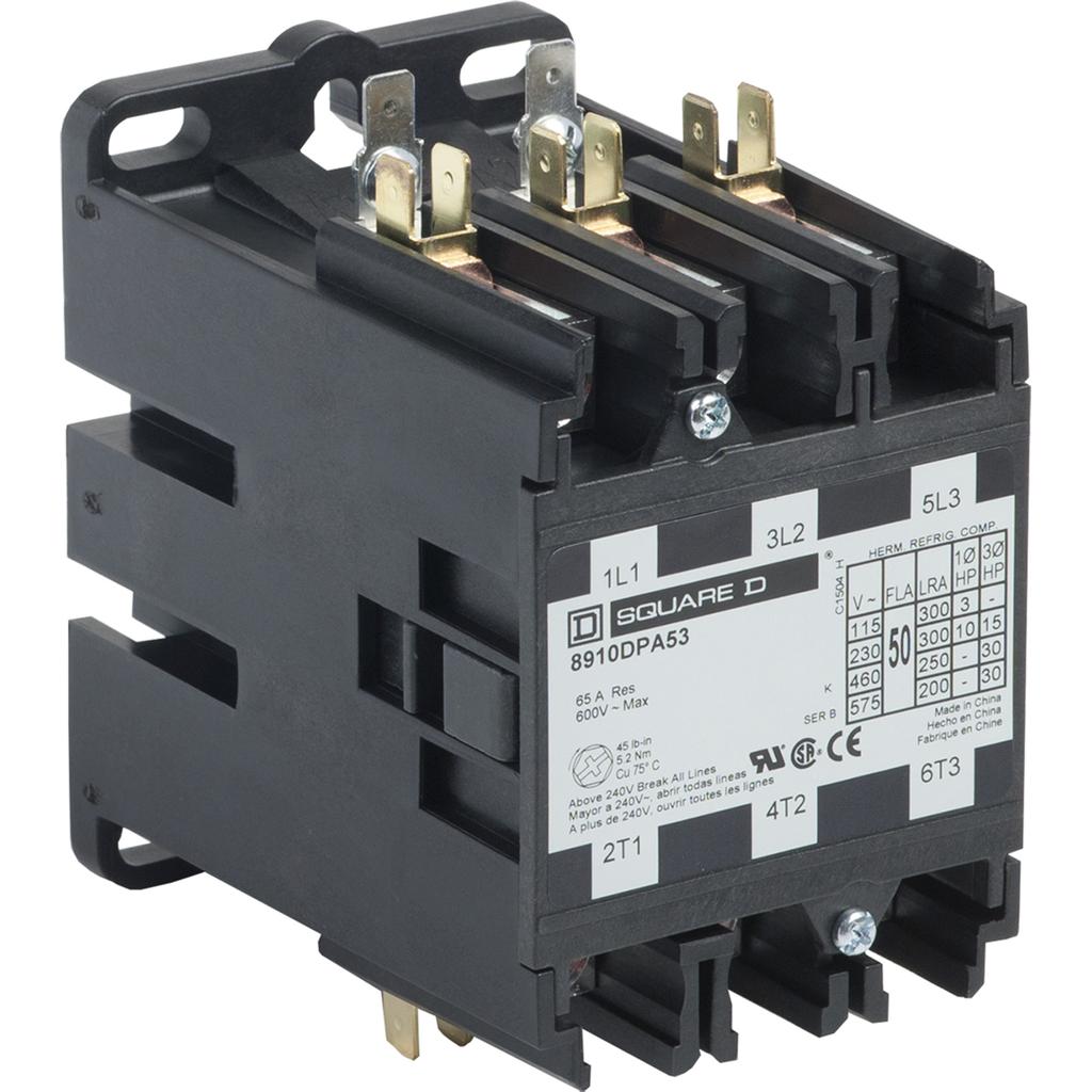 8910DPA definite purpose contactor, 50 A, 3P, 220/208 to 240 V 50/60 Hz coil, open