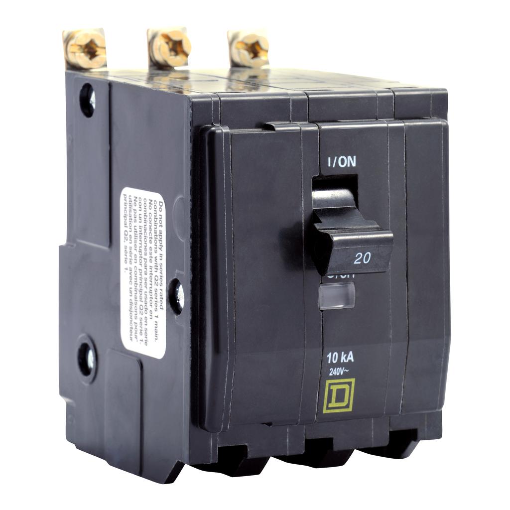 QO mini breaker, 20 A, 3 pole, 120/240 V, 10 kA, bolt on