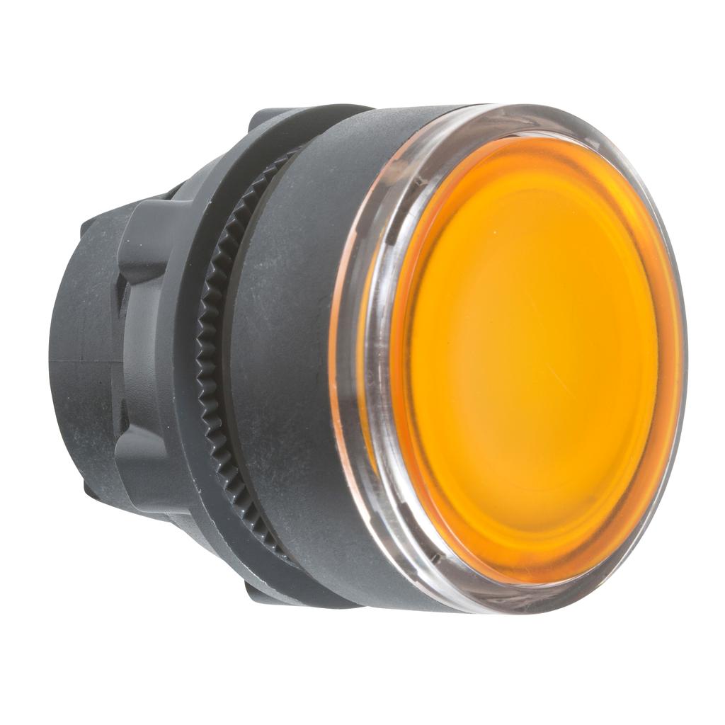 Orange flush illuminated pushbutton head Ø22 spring return for integral LED