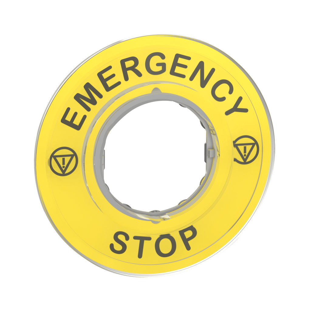Marked legend Ø60 for emergency stop - EMERGENCY STOP/logo ISO13850