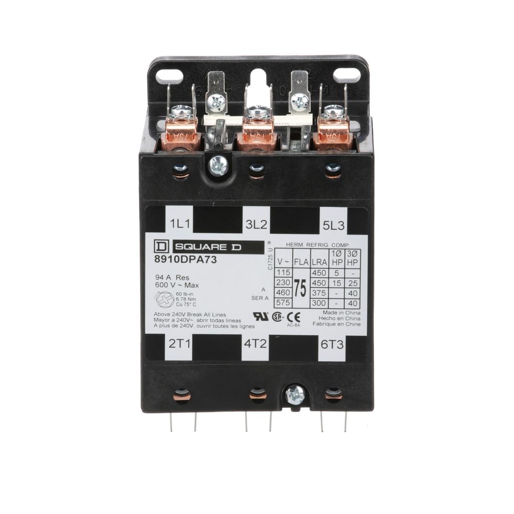8910DPA definite purpose contactor, 75 Amp, 3 P, 110/120 V 50/60 Hz coil, open