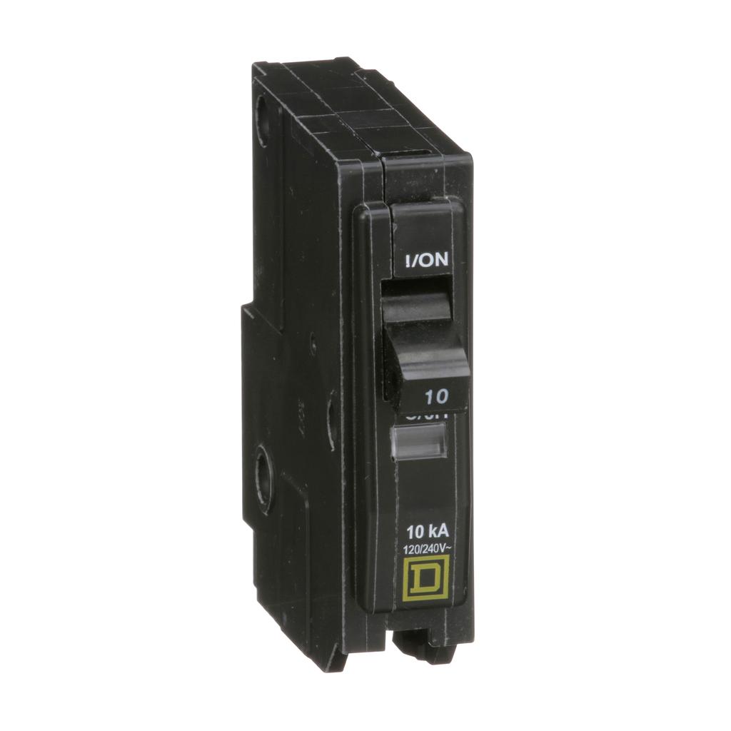 QO mini breaker, 10 A, 1 pole, 120/240 V, 10 kA, plug in