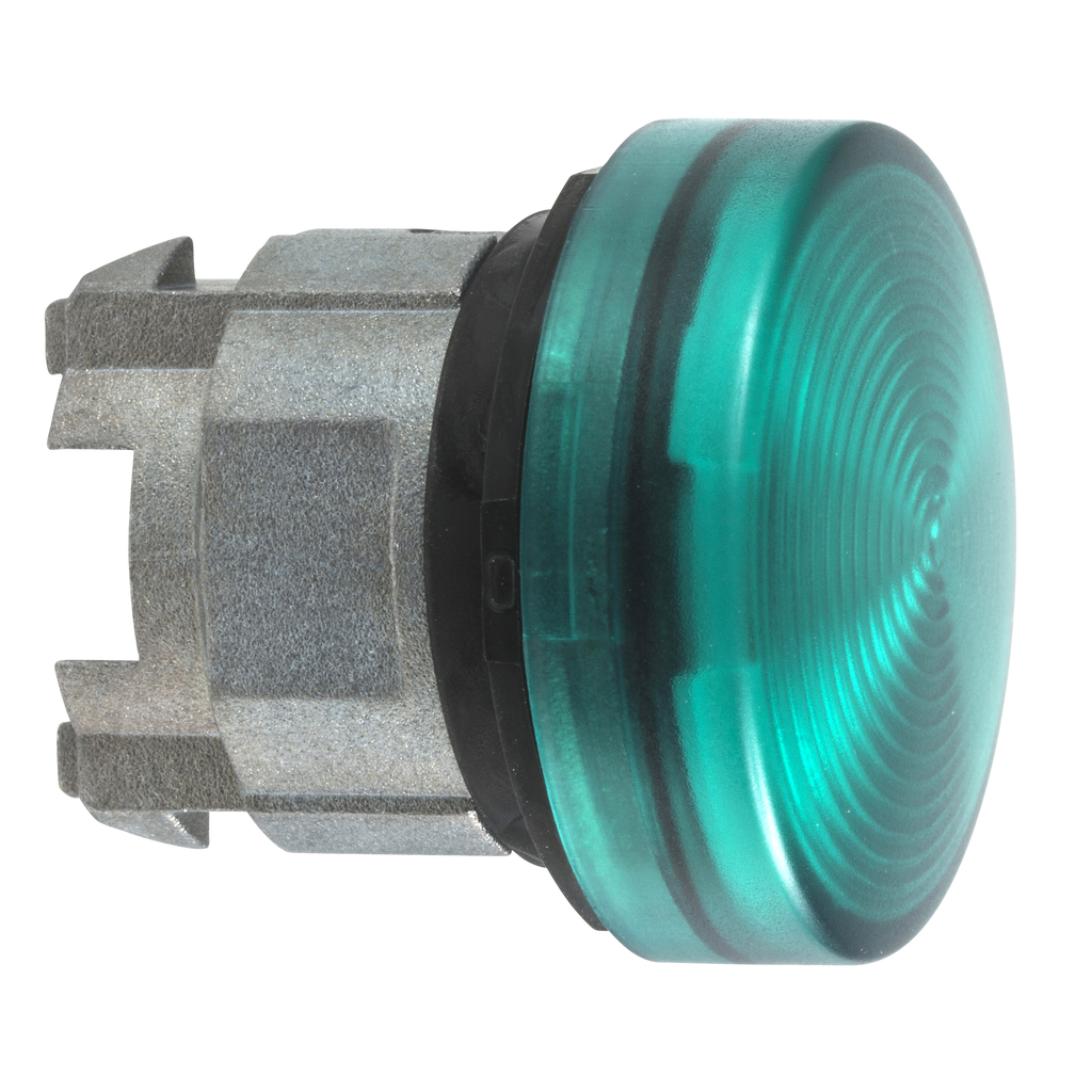Green pilot light head Ø22 with grooved lens for integral LED