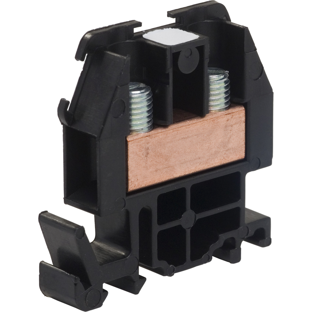 Linergy terminal block, box lug connector, black colored block, 60 Amp, 600 VAC / VDC