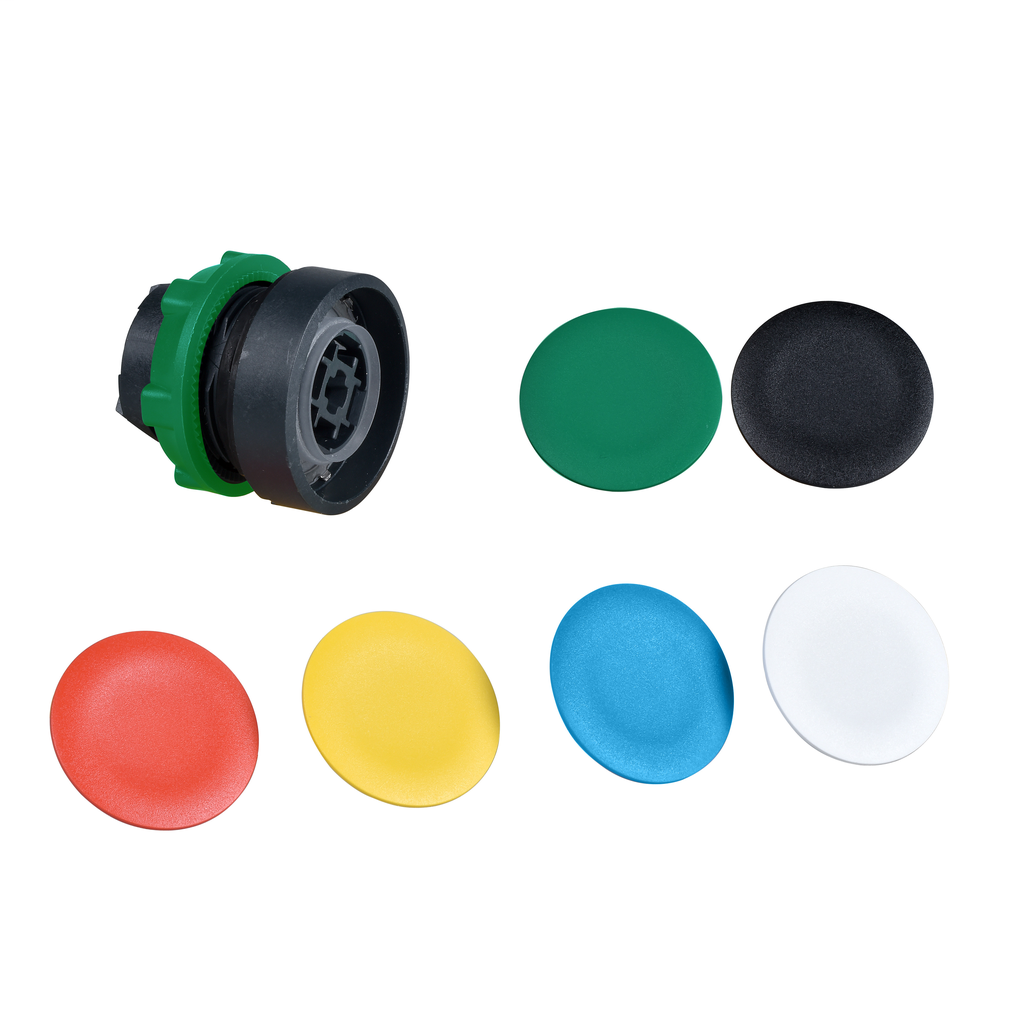 Flush pushbutton head Ø22 spring return with 6 coloured caps unmarked