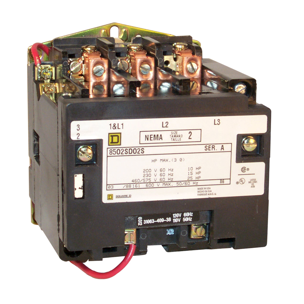 Type S nonreversing magnetic contactor, NEMA Size 2, 3 P, 110/120 VAC 50/60 Hz coil, melting alloy overload, open