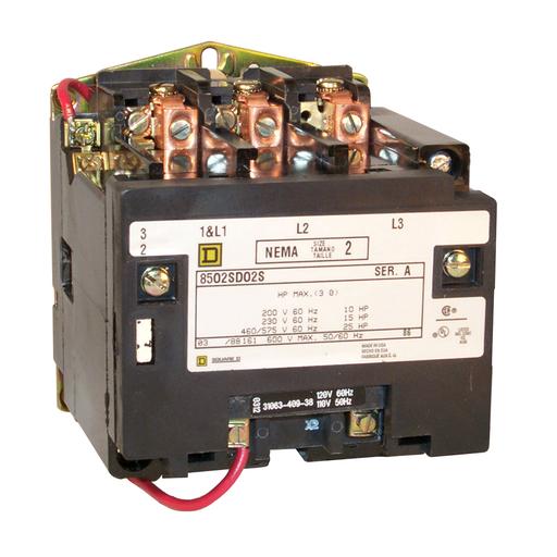 SQD 8502SDO2V02S CONTACTOR 600VAC SIZE 2 LESS ENCLOSURE