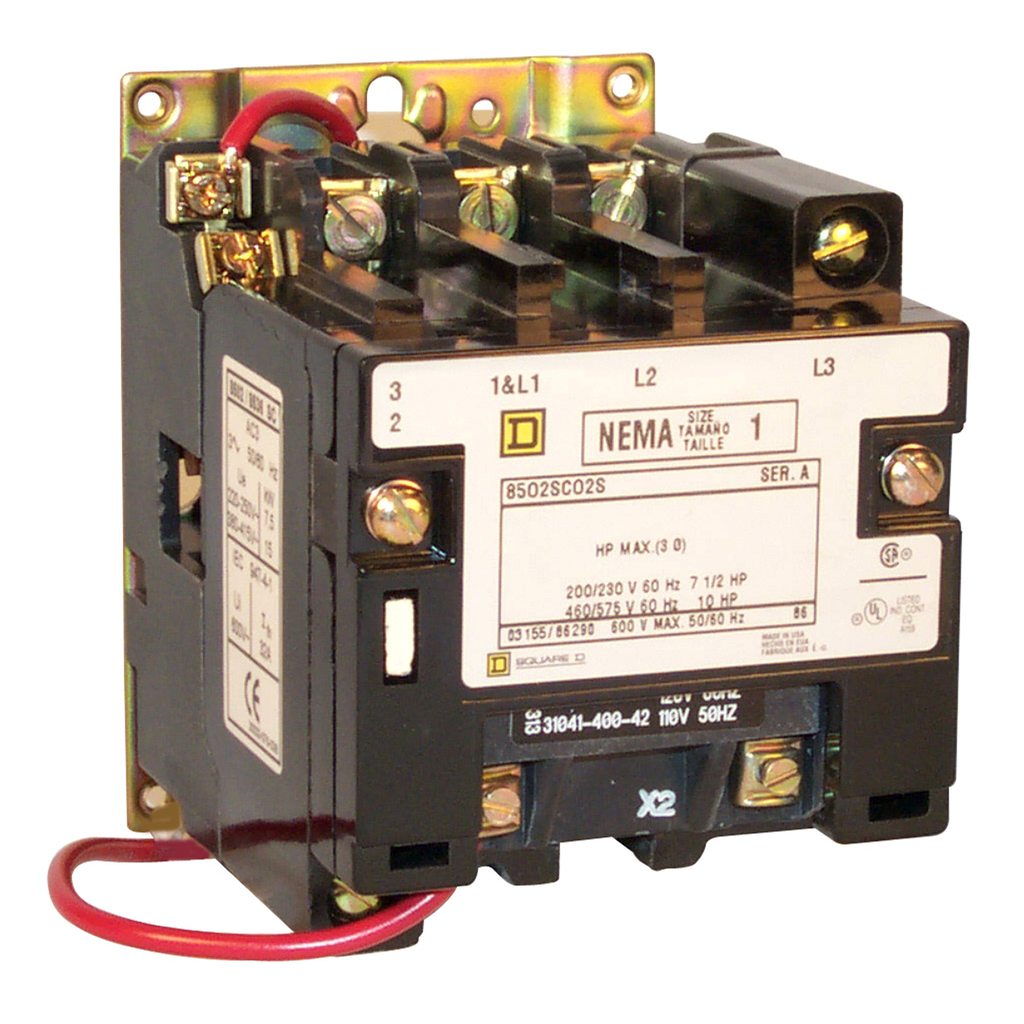 Type S nonreversing magnetic contactor, NEMA Size 1, 3 P, 110/120 VAC 50/60 Hz coil, melting alloy overload, open