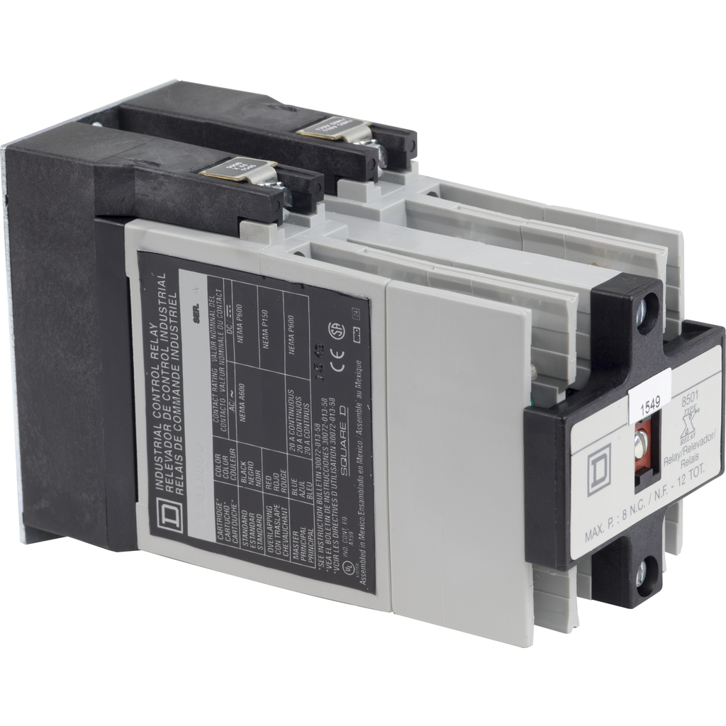 NEMA Control Relay, Type X, 8 NO contacts, 10 A, 600 VAC, with 110 /120 VAC 50/60 Hz coil