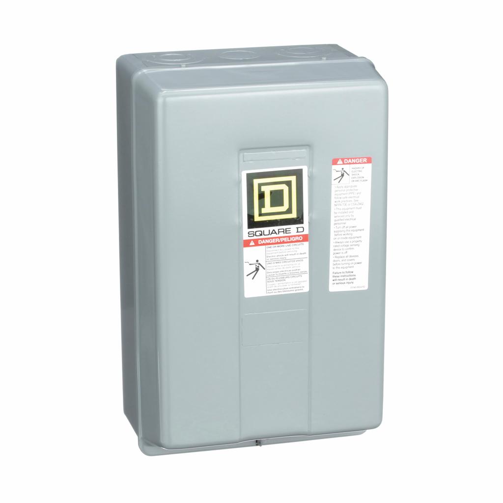 8903L electrically held lighting contactor, 2 P, 2 NO, 30 A, 600 V, 110/120 V 50/60 Hz coil, NEMA 1