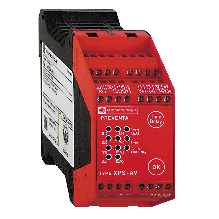 Module XPSAV - Emergency stop - 24 V DC, time delay 0...300 s