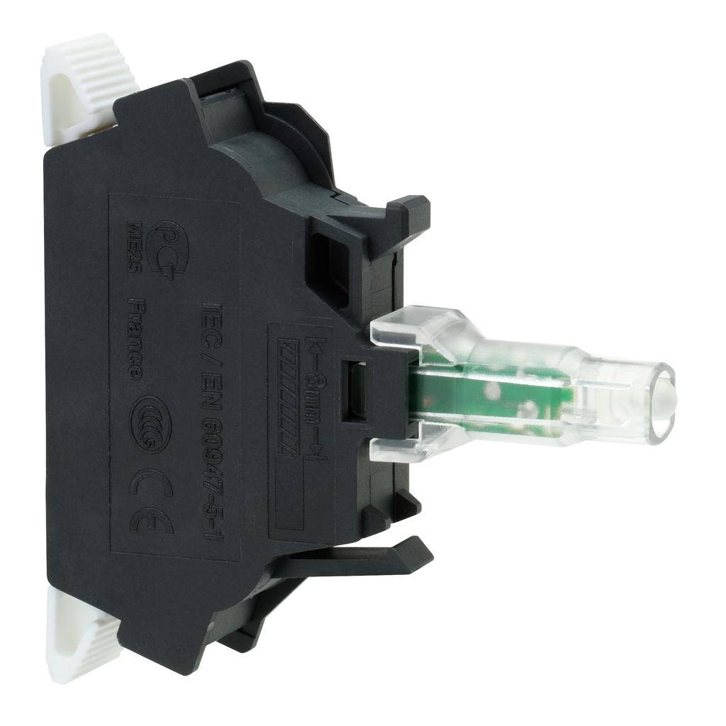 Green light block for head Ø22 integral LED 110...120V spring clamp terminals