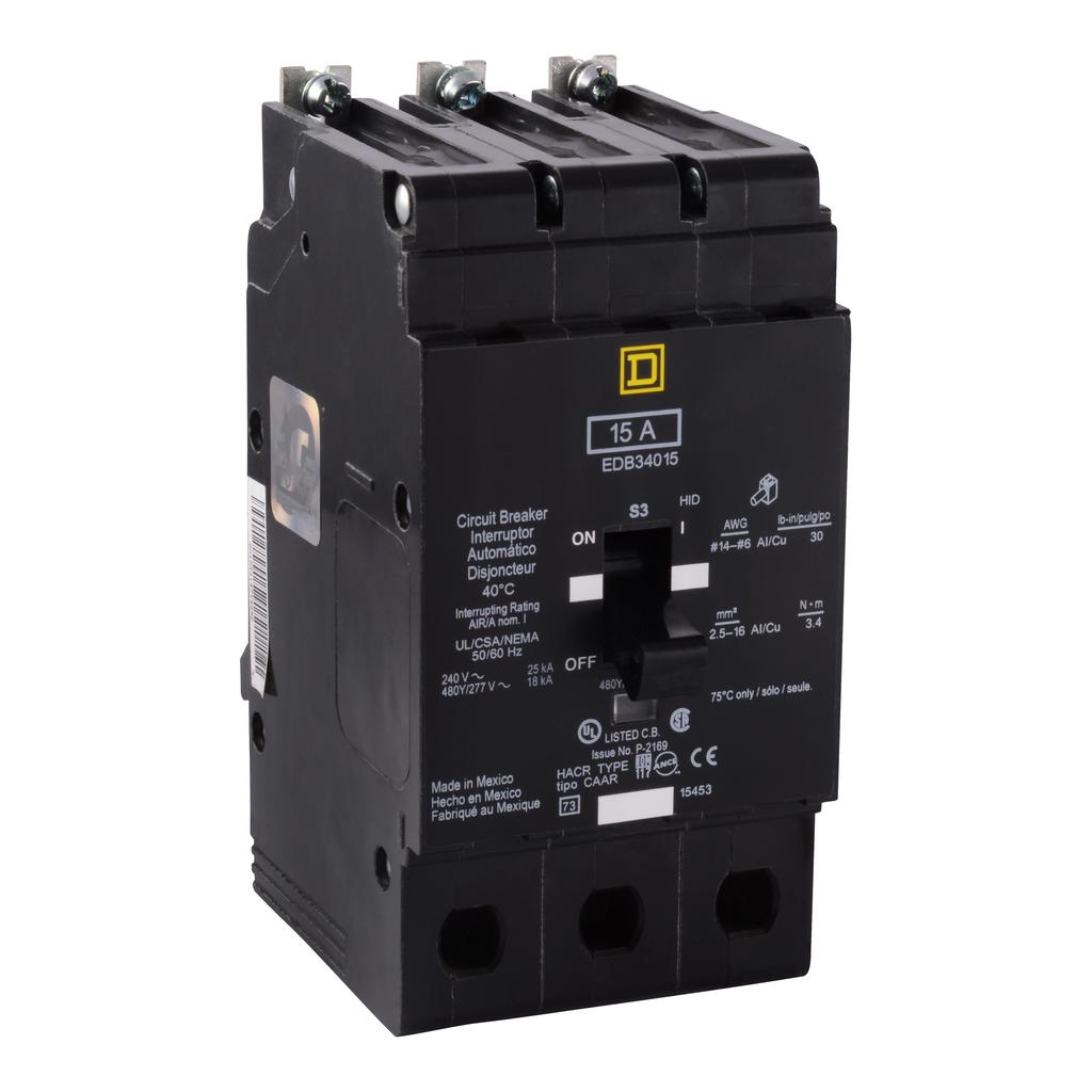 E Frame, circuit breaker, 15 A, 3 pole, 480Y/277 V, 18/25 kA, bolt on