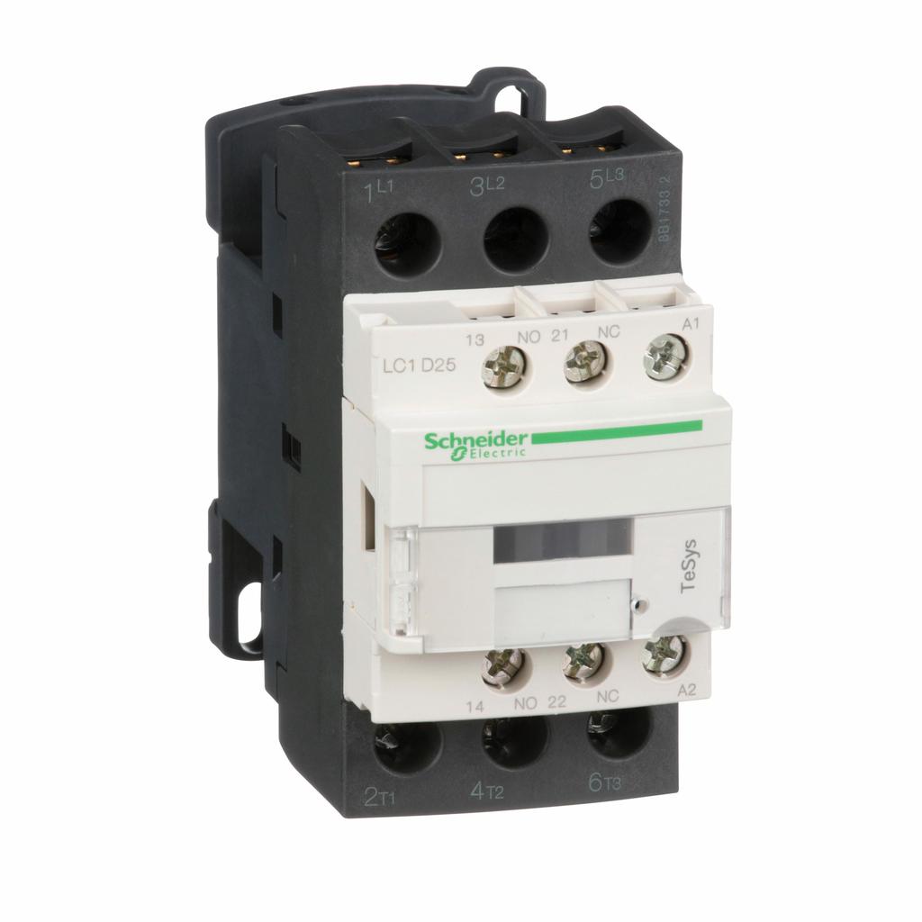 TeSys D IEC contactor, 25 A, 3 P, 15 HP at 480 VAC, nonreversing, 120 VAC 50/60 Hz coil