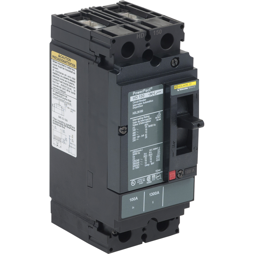 PowerPact H Circuit Breaker,ThermMagn,100A,2P,600V,14kA