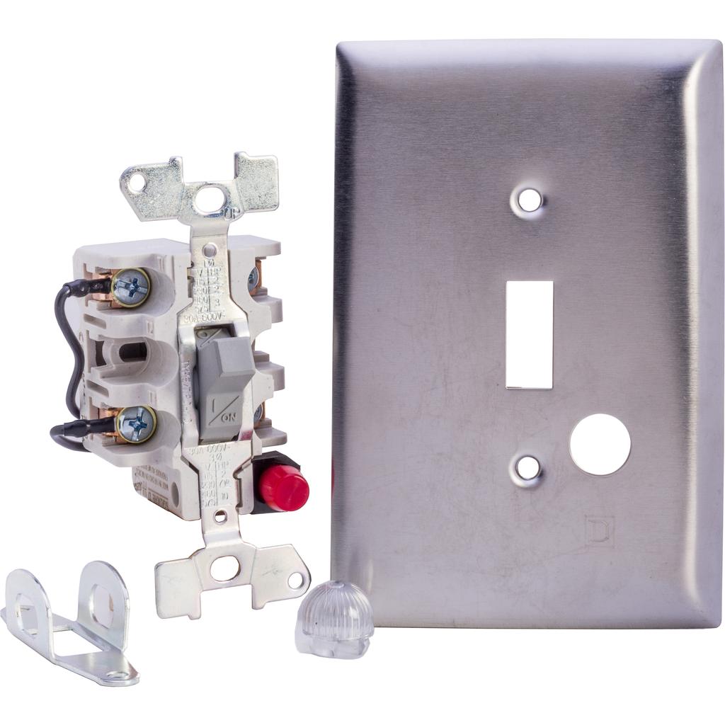 Manual Switch - Jumbo SS Flush - 2P - Toggle Operated - Red Indicator - 600VAC
